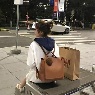 【MI】韓版簡約大容量球球後背包休閒包(兩色可選)