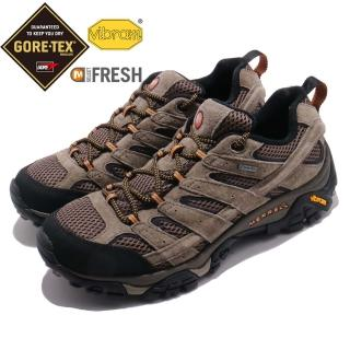 【MERRELL】戶外鞋 Moab 2 LTR GTX 男鞋 登山 越野 防水 耐磨黃金大底 透氣 抗菌 棕黑(ML18427)