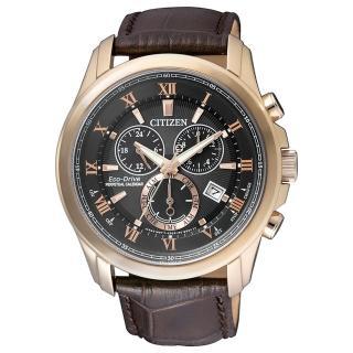 【CITIZEN 星辰】Eco-Drive限量羅馬光動能皮腕錶咖啡43mm(BL5542-07E)