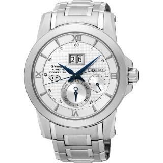 【SEIKO 精工】Kinetic 藍寶石萬年曆銀腕錶-銀41mm(7D48-0AR0S/SNP133J1)