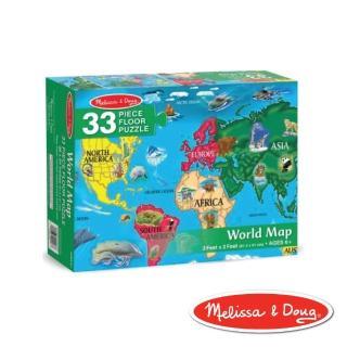 【Melissa & Doug 瑪莉莎】大型地板拼圖(世界地圖 33片)