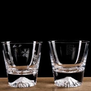 【田島硝子】日本手工吹製 富士山杯 威士忌杯+櫻花杯組 對杯(TG15-015-R+TG16-015-RS)