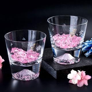 【田島硝子】富士山杯 櫻花限量款 威士忌杯2入組 對杯 酒杯(TG16-015-RS+TG16-015-RS)