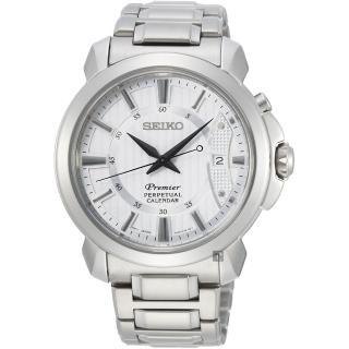 【SEIKO 精工】Premier 紳士萬年曆手錶-銀/41.5mm(6A32-00Z0S  SNQ155J1)