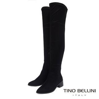 【TINO BELLINI 貝里尼】經典原色麂皮中跟過膝長靴FS8510(黑)