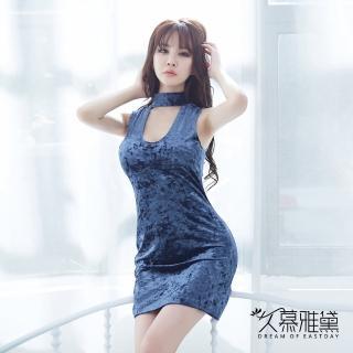 【久慕雅黛】雪花金絲絨優雅連身裙睡衣(藍色)