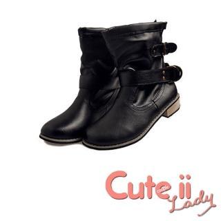 【Cute ii Lady】帥氣皮帶釦經典粗跟騎士中筒靴(黑)