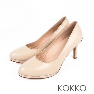【KOKKO】優雅轉身真皮金屬環美型高跟鞋(輕盈米)