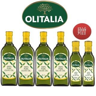 【Olitalia 奧利塔】純橄欖油1000mlx4-禮盒組(贈純橄欖油250mlx2瓶)