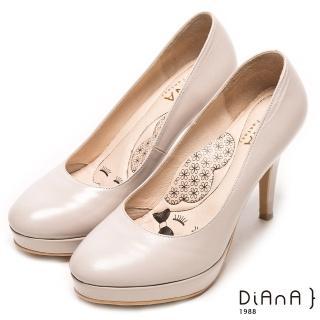 【DIANA】漫步雲端瞇眼美人款--魅力質感珠光系簡約真皮跟鞋(米珠光羊皮)