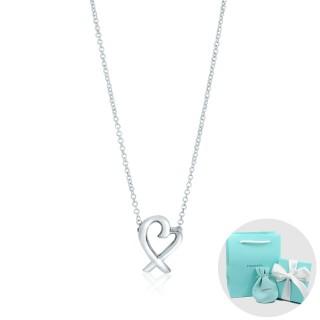 【Tiffany&Co. 蒂芙尼】Paloma Picasso 經典鏤空愛心雙邊接鍊純銀項鍊(小)