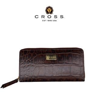 【CROSS】經典頂級小牛皮鱷魚壓紋長夾皮夾(咖啡色)