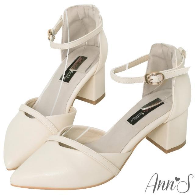 【Ann'S】柔美心動-造型斜帶顯瘦繞踝粗跟尖頭鞋(白)/