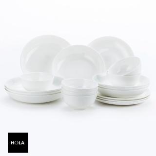 【HOLA】緻白骨瓷18件餐具組 可適用於微波爐及洗碗機