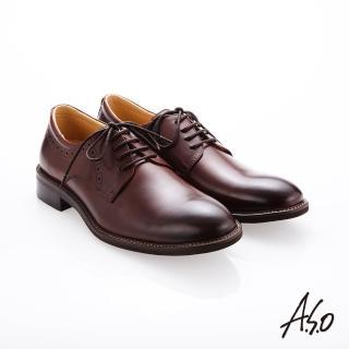 【A.S.O 阿瘦集團】職人通勤  綁帶蠟感牛皮紳士鞋(咖啡)