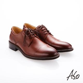 【A.S.O 阿瘦集團】職人通勤  綁帶蠟感小牛皮紳士鞋(茶色)