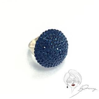 【byFanny】圓鑽戒指-深藍(奧地利施華洛世奇水晶)