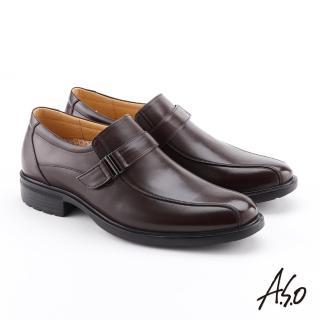 【A.S.O 阿瘦集團】零壓挺力  牛皮扣帶奈米紳士鞋(咖啡)