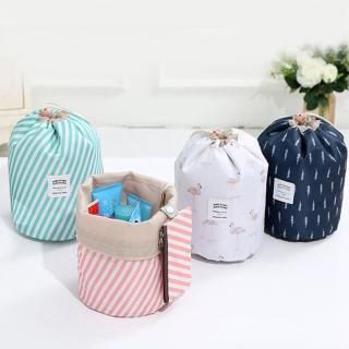 【E.City】新款加厚防潑水大容量圓筒化妝包收納袋3件組