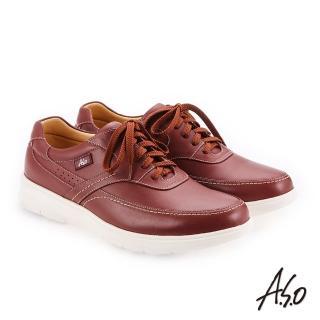 【A.S.O 阿瘦集團】超能耐二代  牛皮方楦魔鬼氈機能休閒鞋(赭紅)