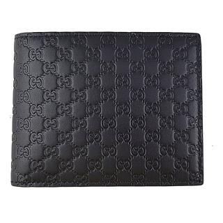 【GUCCI 古馳】Guccissima GG皮革零錢袋壓紋LOGO短夾