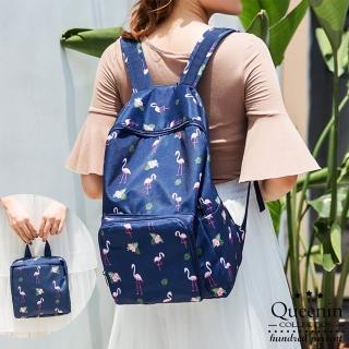【DF Queenin】韓版簡約時尚百搭可折疊雙肩後背包-共3色