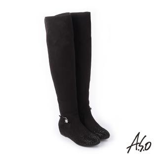 【A.S.O 阿瘦集團】簡約主義  釦環裝飾細緻絨面長靴(黑色)