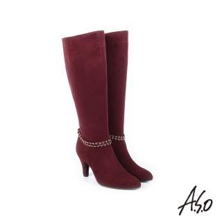 【A.S.O 阿瘦集團】百變女伶  可拆卸金屬飾釦絨面長靴(酒紅)