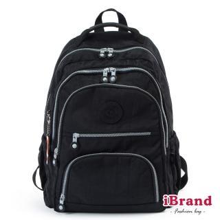 【i Brand】百搭簡約素色多層收納後背包(百搭黑)