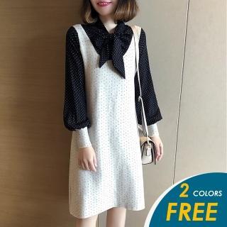 【CHACO】/預購/韓系雪紡波點拼接針織連身裙(均碼)