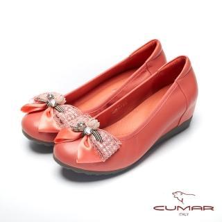 【CUMAR】文藝羅浮宮-  多層次蝴蝶結裝飾內增高娃娃鞋(柑色)