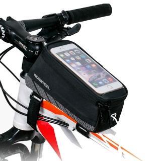 【PUSH!】有行動電源艙的5.7吋手機自行車前置物袋手機袋上管袋工具袋(A62)