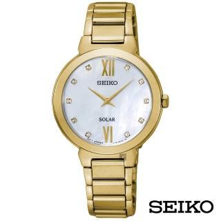 【SEIKO 精工】金采派對舞曲太陽能女錶-白貝面x30mm(SUP384P1)