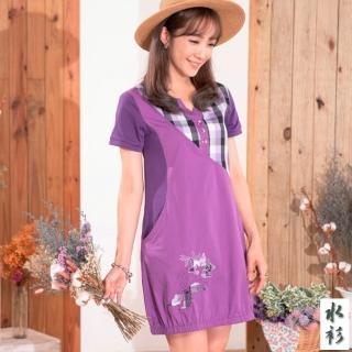【水衫】格紋拼接棉質長版上衣三件組(G03-98)