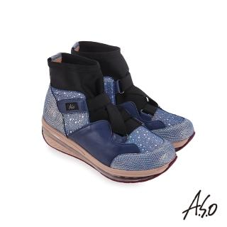【A.S.O 阿瘦集團】超能力氣墊  彈性布拼接牛皮休閒鞋(藍色)