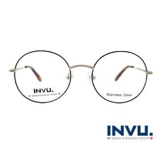 【【INVU】瑞士文雅質感細黑圓框光學眼鏡(白銀/秋彩)】B3903C(B3903C-)