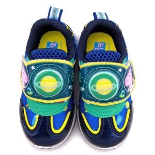 【童鞋城堡】粉紅豬小妹 喬治豬 中童 電燈輕量運動跑鞋(PG6401-藍)
