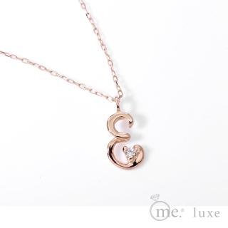 【me.luxe】K10玫金K1分鑽字母鍊-E(日本輕珠寶網路銷售NO.1)