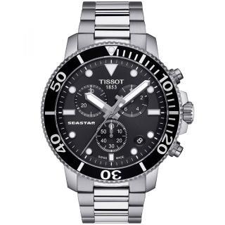 【TISSOT 天梭】Seastar 1000海洋之星300米潛水三眼計時石英錶-45.5mm/黑(T1204171105100)