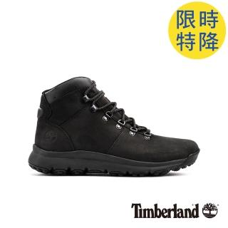【Timberland】男款黑色防水運動登山中筒靴(A1WND015)