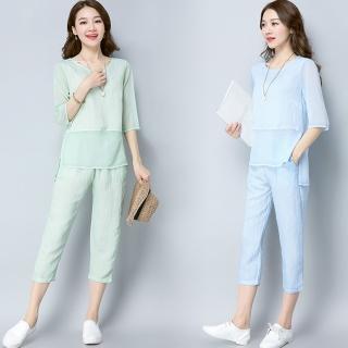 【REKO】氣質時尚棉麻上衣短褲兩件套S-2XL(共兩色)
