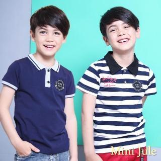 【Mini Jule】男童 上衣 條紋字母印花徽章貼布/布標螺紋襯衫領短袖T恤(共2款)