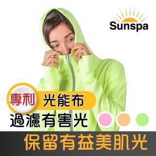 【SUN SPA】真 專利光能布 UPF50+ 遮陽防曬 濾光 口罩式連帽外套(光療 輕薄透氣 抗UV防紫外線 涼感)