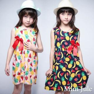 【Mini Jule】女童 洋裝 盛夏水果印花蝴蝶結無袖洋裝(共2色)