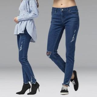 【Lee】Lee 中腰合身窄腳牛仔褲/BO-433-深(深藍)