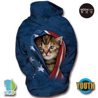 【摩達客】美國The Mountain 愛國小貓 少年兒童版 連帽T恤(預購)