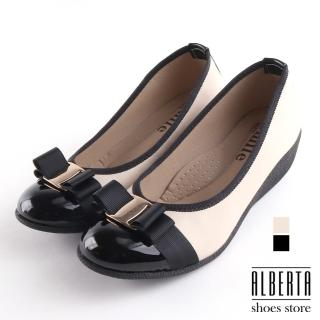 【Alberta】包鞋-舒適乳膠鞋墊 跟高5CM 皮質拼接亮皮 楔型鞋 包鞋 娃娃鞋 MIT台灣製