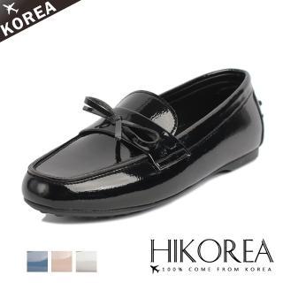 【HIKOREA】正韓製/版型正常。類真皮高質感柔軟皮革一字帶蝴蝶結飾豆豆鞋(7-3018共4色/現貨)