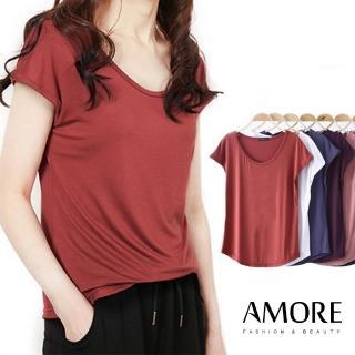 【Amore】比特棉彈性圓領顯瘦修身上衣9色(春夏穿搭必備多色百搭上衣)
