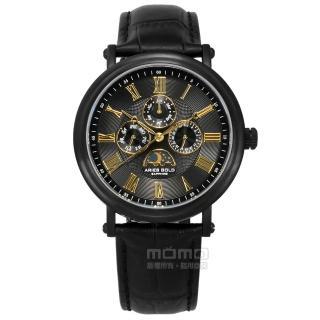 【ARIES GOLD】日月相錶 羅馬時標 藍寶石水晶玻璃 日期星期顯示 真皮手錶 黑金色 43mm(G101BK-BKG)